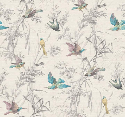 Birds Of Paradise Wallpaper in Frost from the Sanctuary Collection by Mayflower Wallpaper