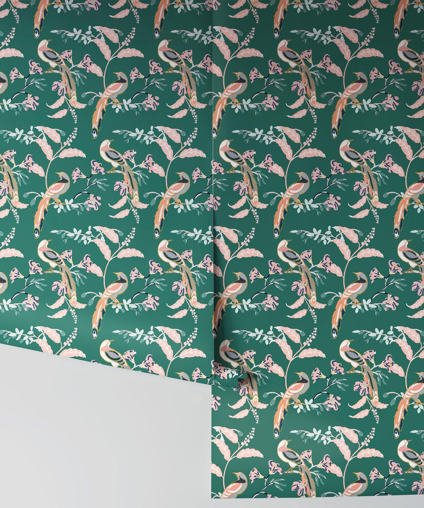 Birds Of Paradise Wallpaper in Green Vogue from the Wallpaper Republic Collection by Milton & King