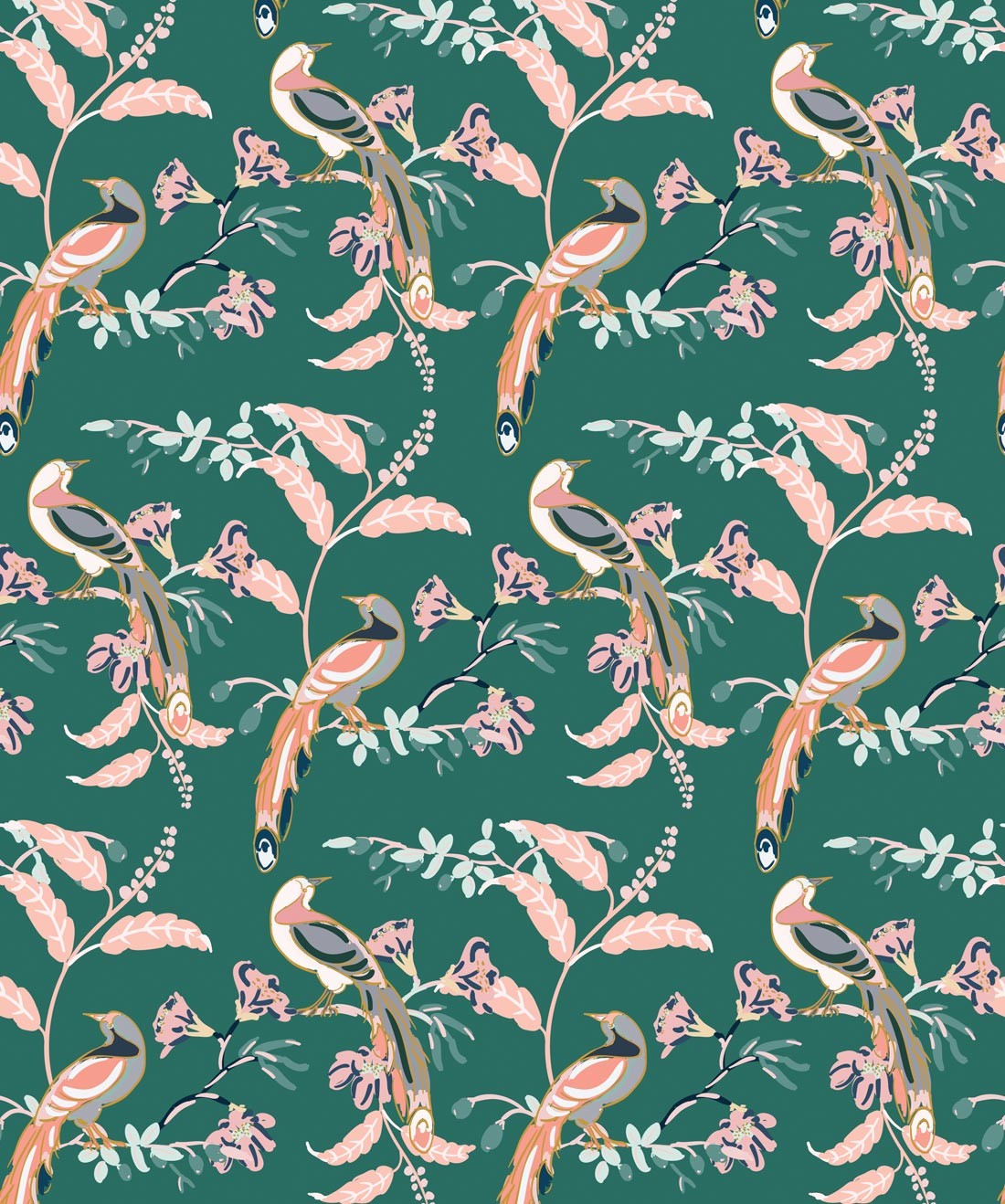 Birds Of Paradise Wallpaper In Green Vogue From The
