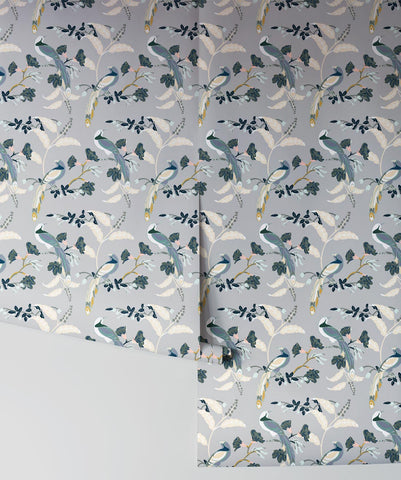 Birds Of Paradise Wallpaper in Grey from the Wallpaper Republic Collection by Milton & King