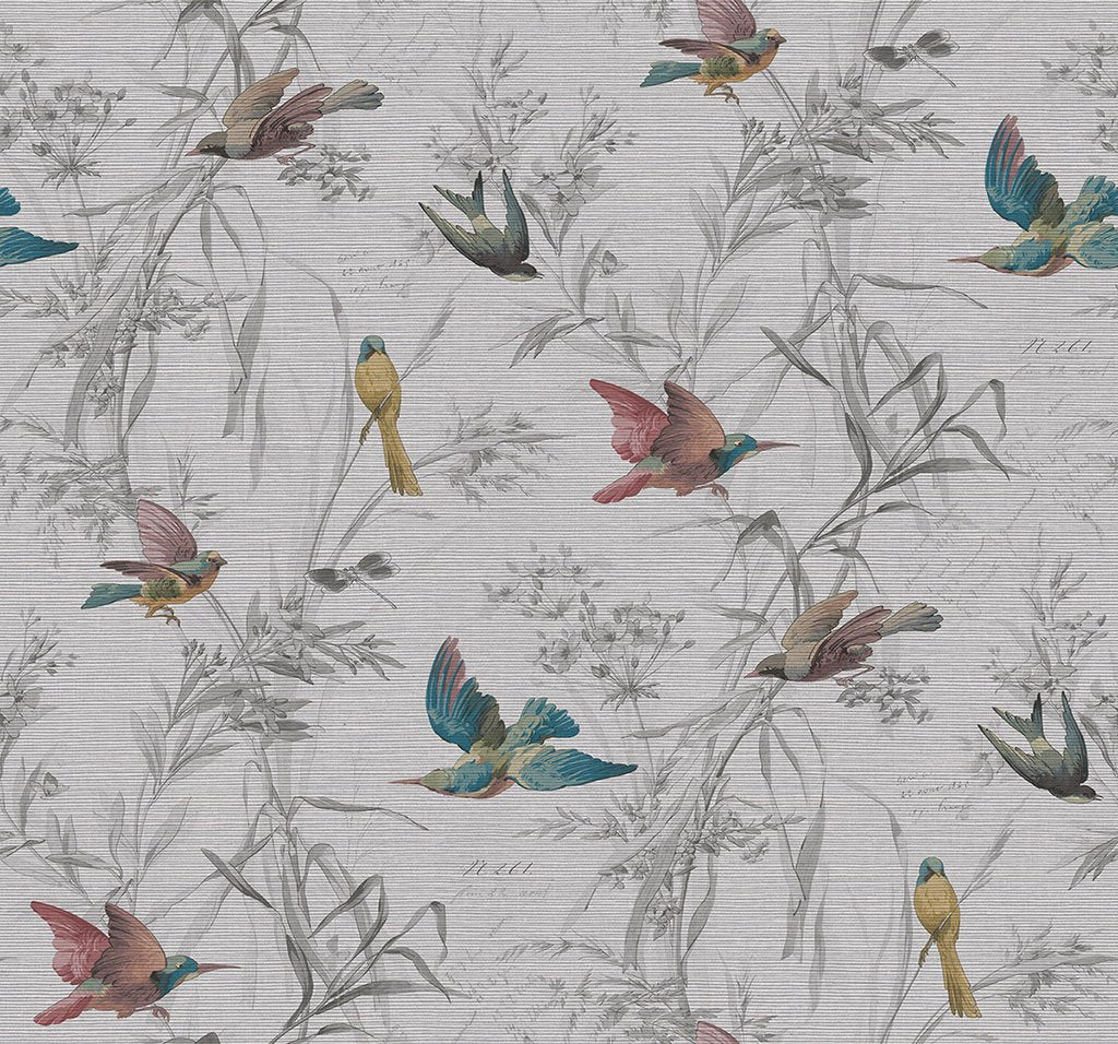 Birds Of Paradise Wallpaper in Sterling from the Sanctuary Collection by Mayflower Wallpaper