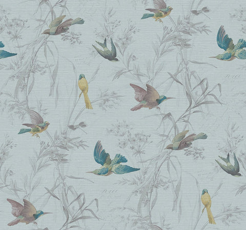 Birds Of Paradise Wallpaper in Turquoise from the Sanctuary Collection by Mayflower Wallpaper