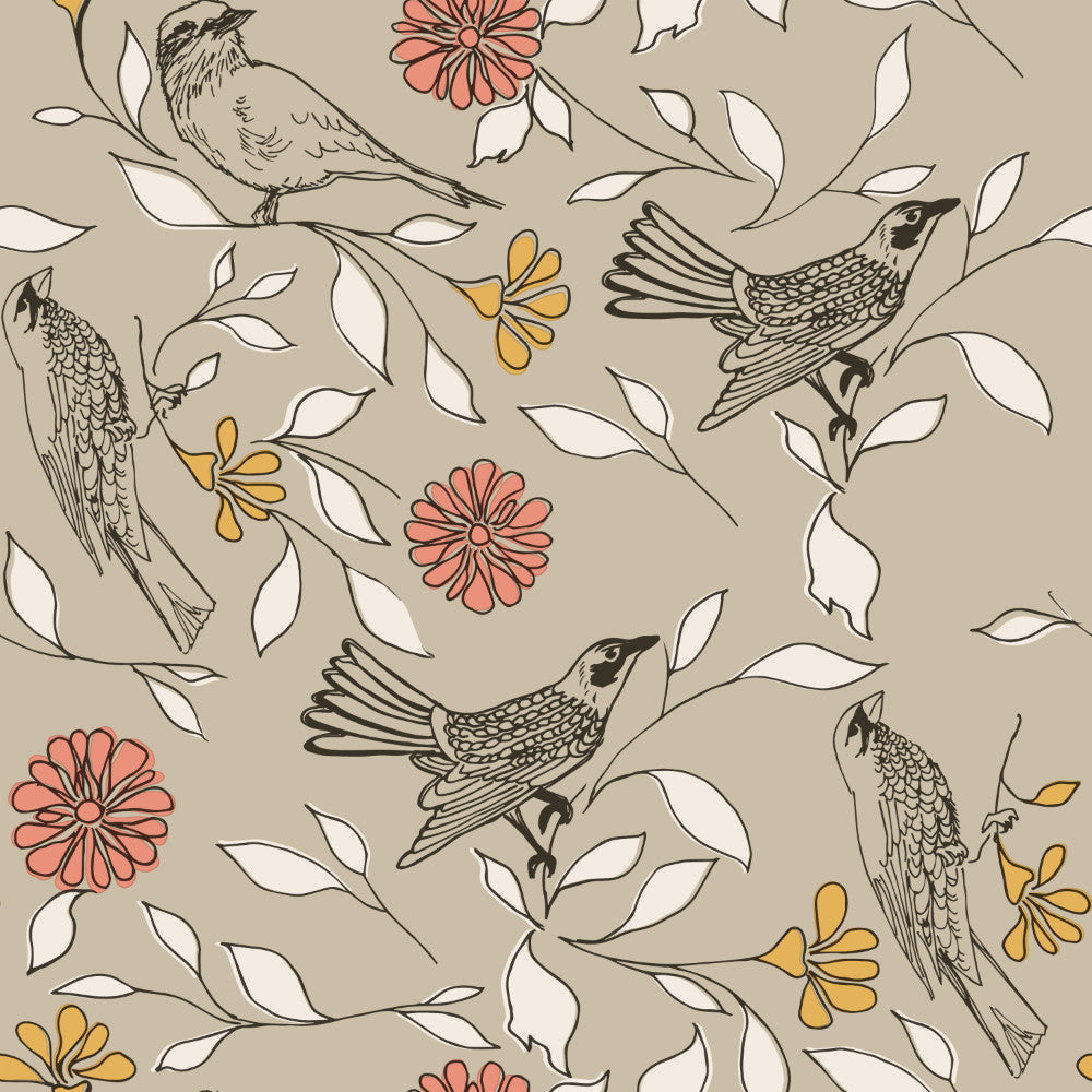 Birds Self-Adhesive Wallpaper in Greige design by Tempaper