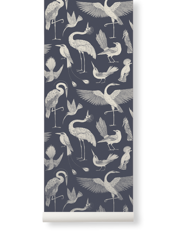 Birds Wallpaper in Dark Blue by Katie Scott for Ferm Living