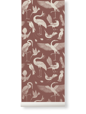 Birds Wallpaper in Dusty Red by Katie Scott for Ferm Living