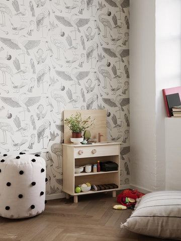 Birds Wallpaper in Off-White by Katie Scott for Ferm Living
