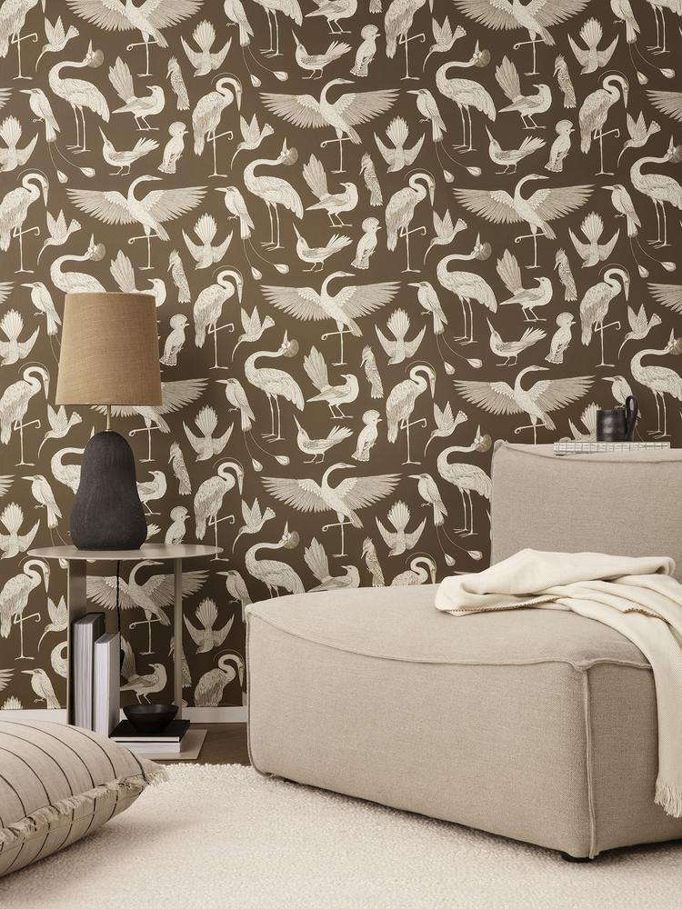 Birds Wallpaper in Sugar Kelp by Katie Scott for Ferm Living