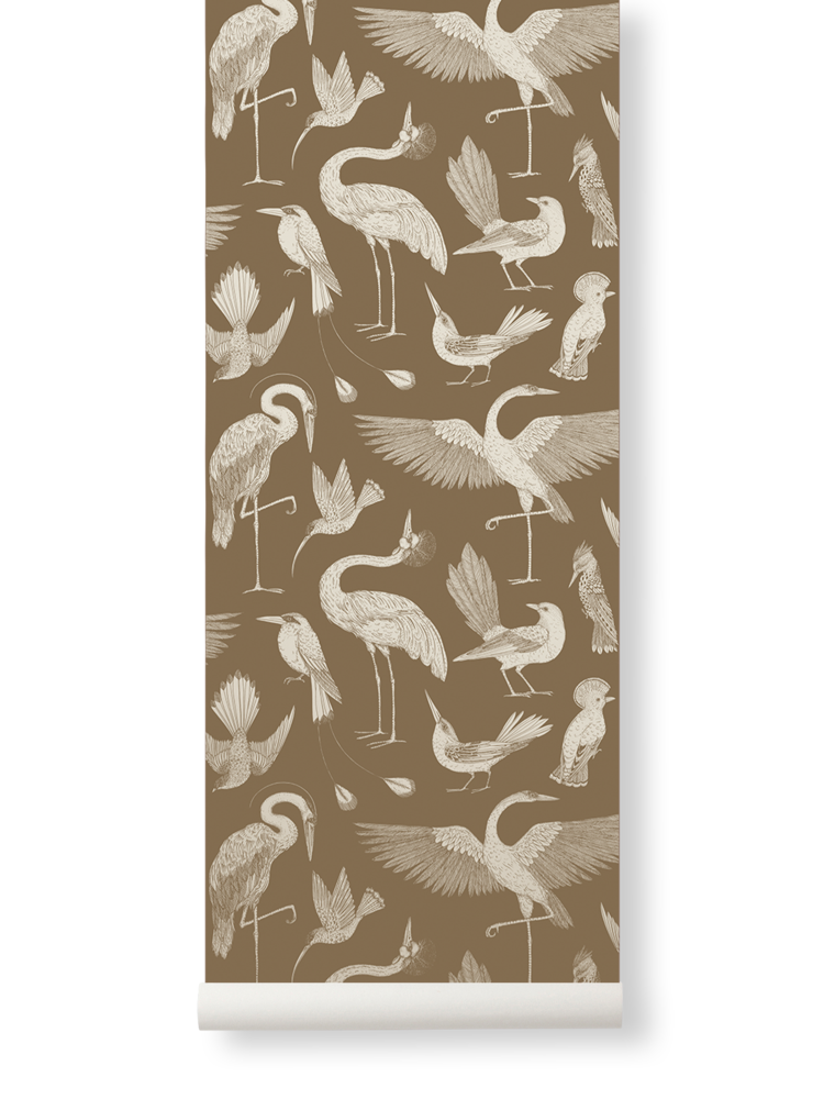 Sample Birds Wallpaper in Sugar Kelp by Katie Scott for Ferm Living