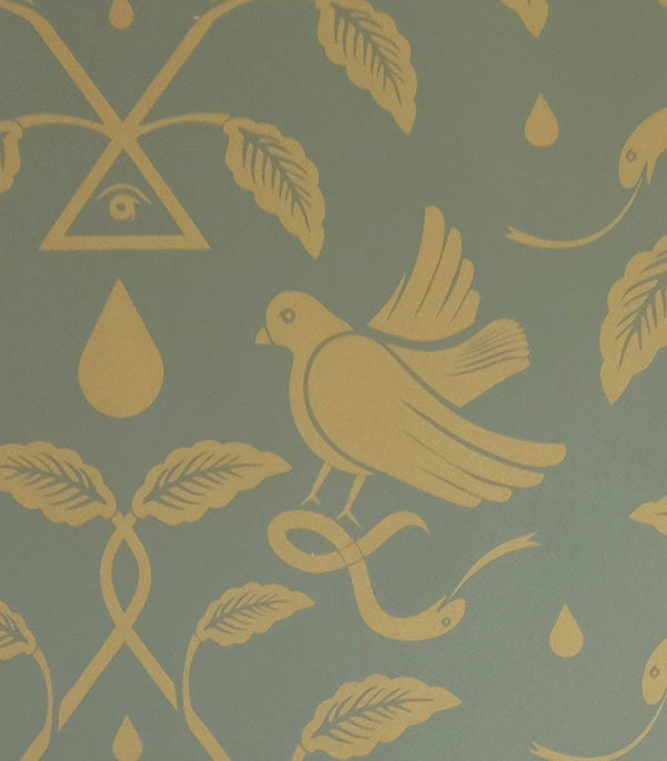Sample Birds of Paradigm Wallpaper in Green and Gold by Cavern Home