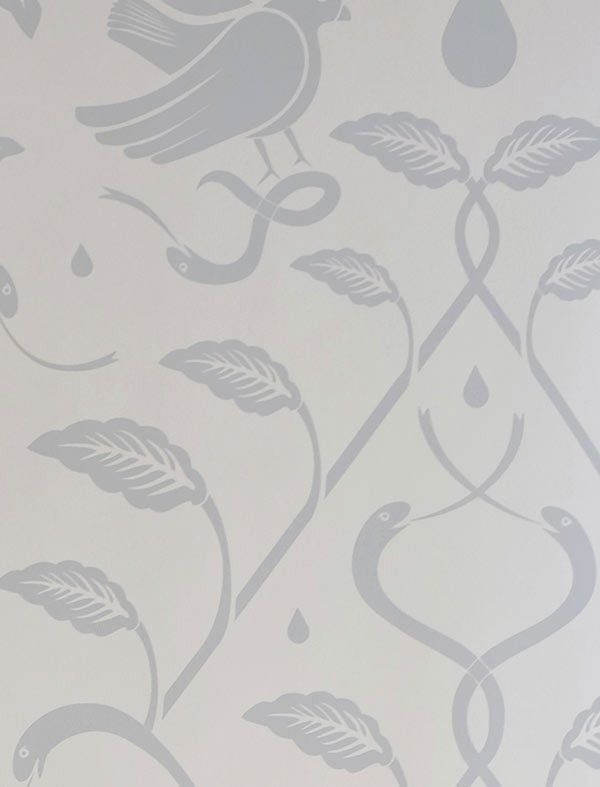 Sample Birds of Paradigm Wallpaper in Light Blue and Light Green by Cavern Home