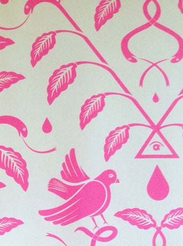 Birds Of Paradigm Wallpaper In Pink And Grey By Cavern Home