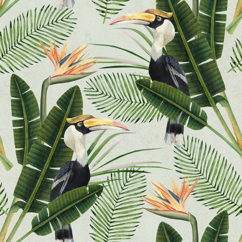 Birds of Paradise Wallpaper in Green and Orange from the Tropical Vibes Collection by Mind the Gap