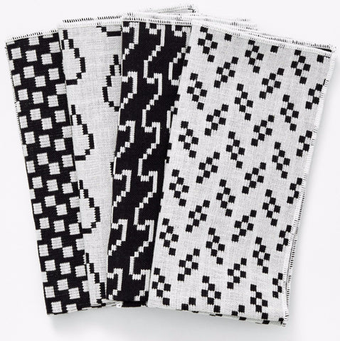 Set of 4 Bitmap Textiles Napkins in Black & White design by Areaware