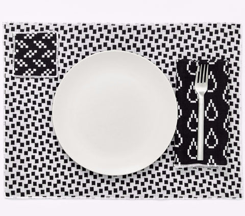 Set of 4 Bitmap Textiles Placemats in Black & White design by Areaware