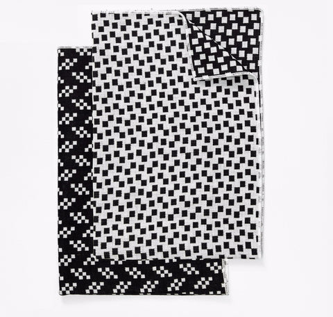 Set of 2 Bitmap Textiles Black & White Tea Towels in Bits & Static design by Areaware