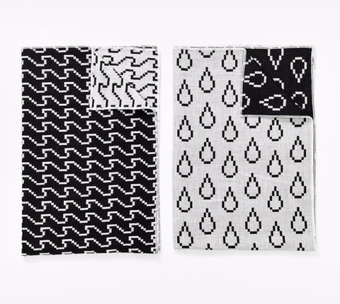 Set of 2 Bitmap Textiles Black & White Tea Towels in Waves & Drops design by Areaware