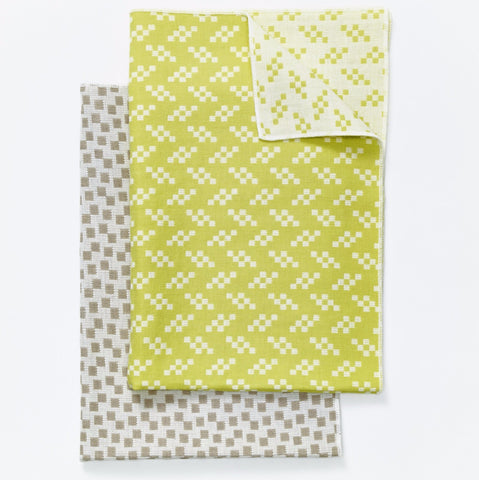 Set of 2 Bitmap Textiles Color Tea Towels in Bits & Static design by Areaware
