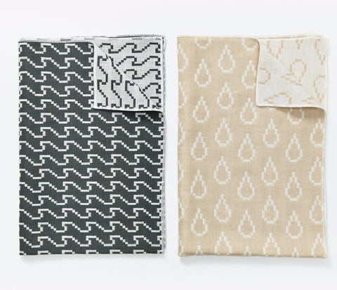 Set of 2 Bitmap Textiles Color Tea Towels in Waves & Drops design by Areaware