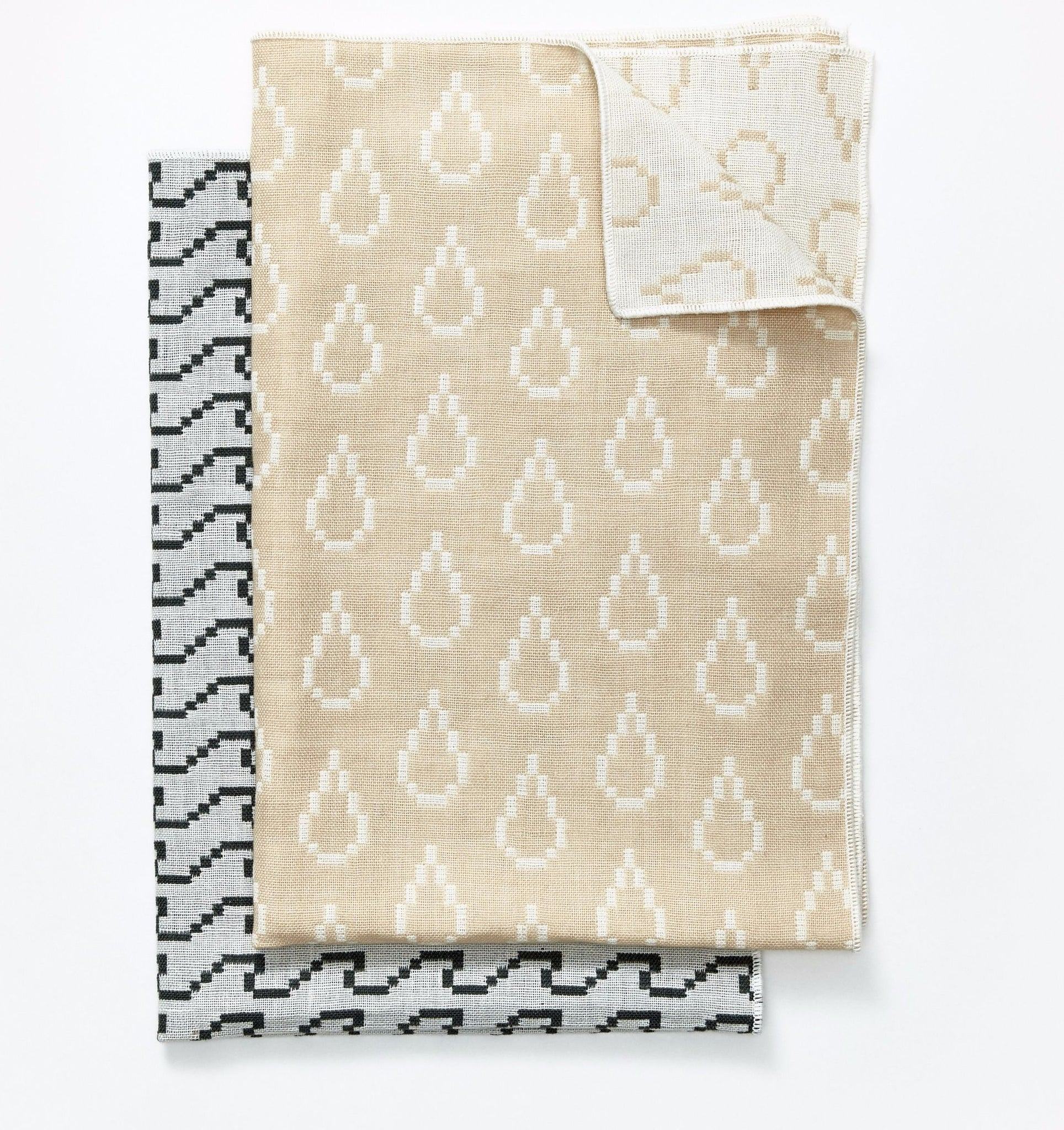 Set Of 2 Bitmap Textiles Color Tea Towels In Waves U0026 Drops Design By  Areaware