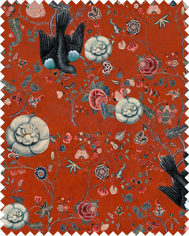 Black Bird Linen Fabric in Red by Mind the Gap