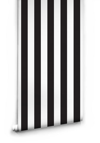 Sample Black & White Stripe Wallpaper by Ingrid + Mika for Milton & King