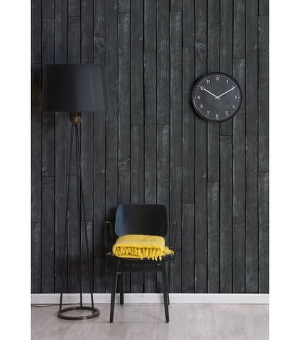 Black Wooden Boards Wallpaper design by Milton & King