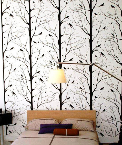 Blackbird Wallpaper in White design by Cavern Home