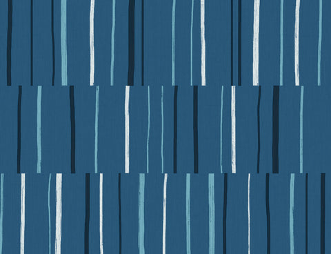 Block Lines Wallpaper in Blueberry, Midnight, and Blue Skies from the Living With Art Collection by Seabrook Wallcoverings