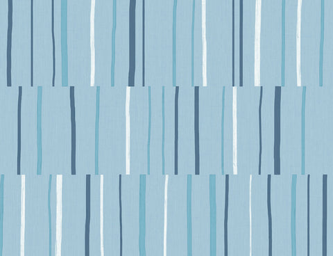 Block Lines Wallpaper in Bluebird, Navy, and Glacier White from the Living With Art Collection by Seabrook Wallcoverings