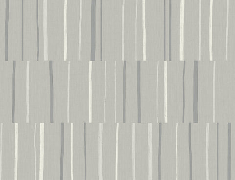 Block Lines Wallpaper in Metallic Silver and Cove Grey from the Living With Art Collection by Seabrook Wallcoverings