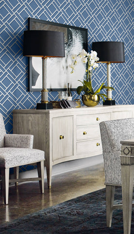 Block Trellis Wallpaper in Coastal Blue and Navy from the Luxe Retreat Collection by Seabrook Wallcoverings