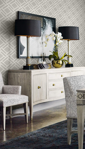 Block Trellis Wallpaper in Cove Grey and Fog from the Luxe Retreat Collection by Seabrook Wallcoverings