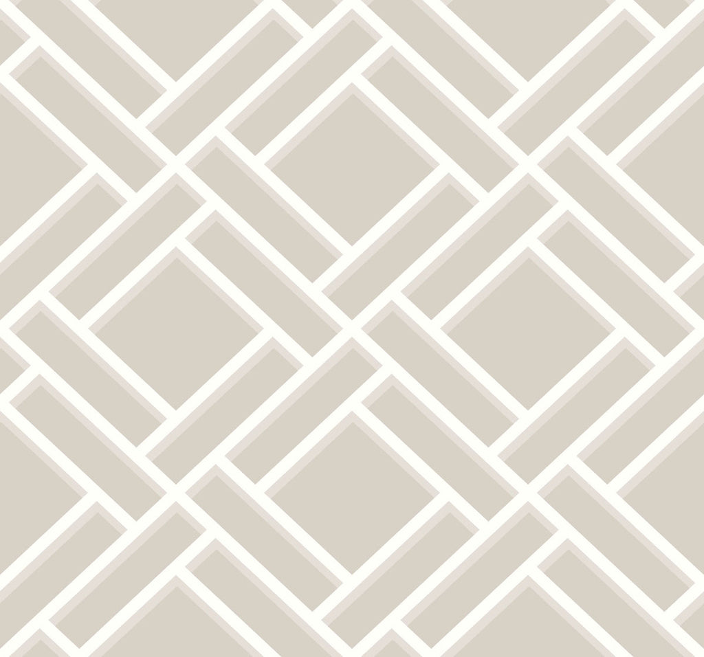 Sample Block Trellis Wallpaper in Cove Grey and Fog from the Luxe Retreat Collection by Seabrook Wallcoverings