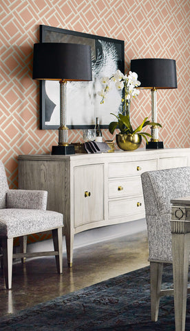 Block Trellis Wallpaper in Melon and Arrowroot from the Luxe Retreat Collection by Seabrook Wallcoverings