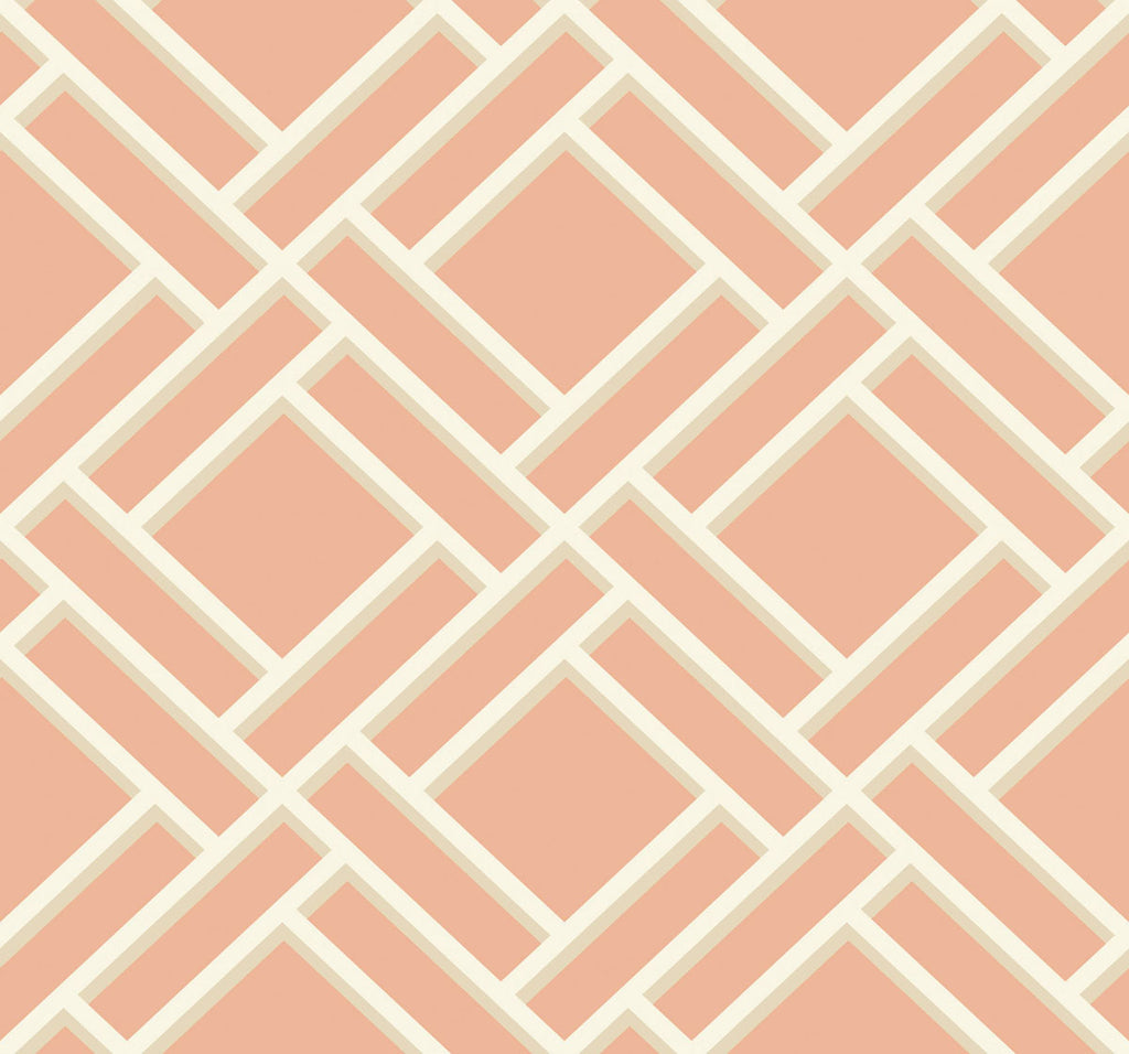 Sample Block Trellis Wallpaper in Melon and Arrowroot from the Luxe Retreat Collection by Seabrook Wallcoverings