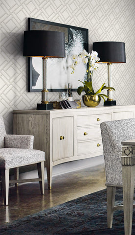 Block Trellis Wallpaper in Metallic Silver and Eggshell from the Luxe Retreat Collection by Seabrook Wallcoverings