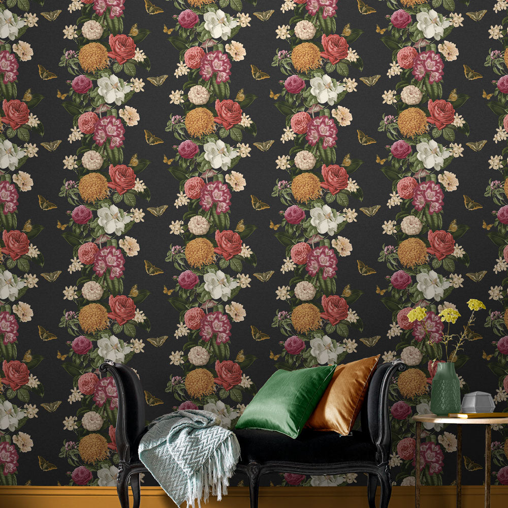 Bloomsbury Wallpaper in Noir from the Exclusives Collection by Graham & Brown