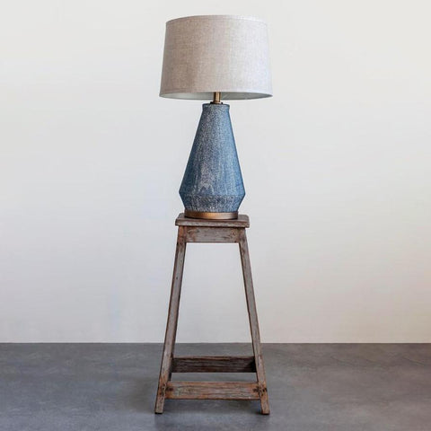 Blue Ceramic Table Lamp with Natural Linen Shade