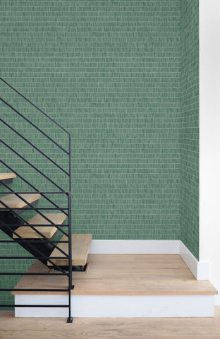 Blue Grass Band Grasscloth Wallpaper in Banana Leaf from the More Textures Collection by Seabrook Wallcoverings