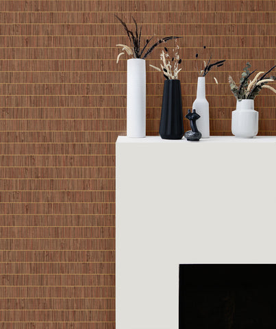 Blue Grass Band Grasscloth Wallpaper in Terra Cotta from the More Textures Collection by Seabrook Wallcoverings