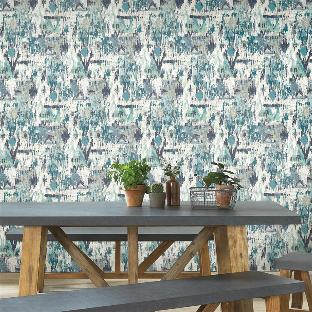 Blue Aztec Peel & Stick Wallpaper by RoomMates for York Wallcoverings
