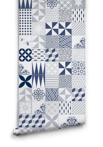 Sample Blue Cement Tiles Wallpaper design by Milton & King