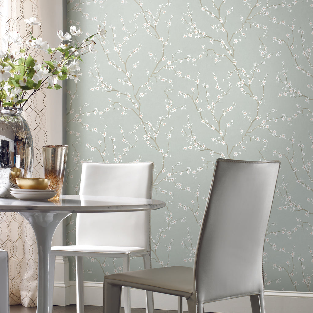 Blue Cherry Blossom Peel & Stick Wallpaper by RoomMates ...