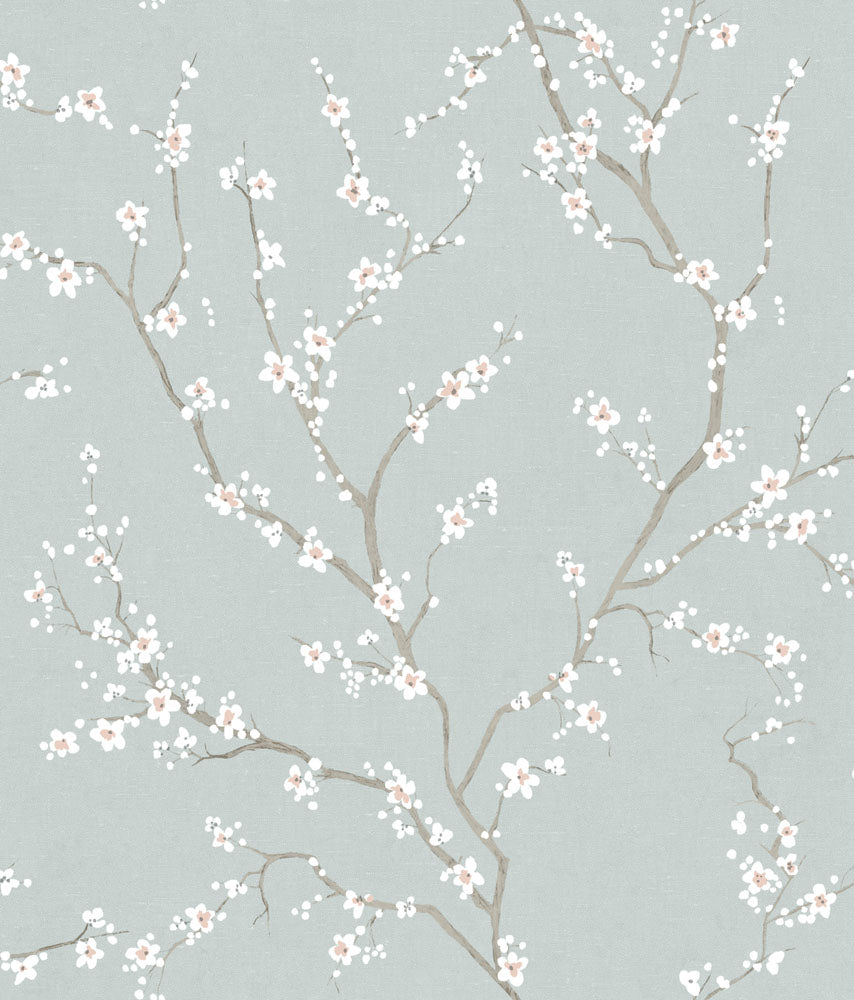 Blue Cherry Blossom Peel Stick Wallpaper By Roommates For