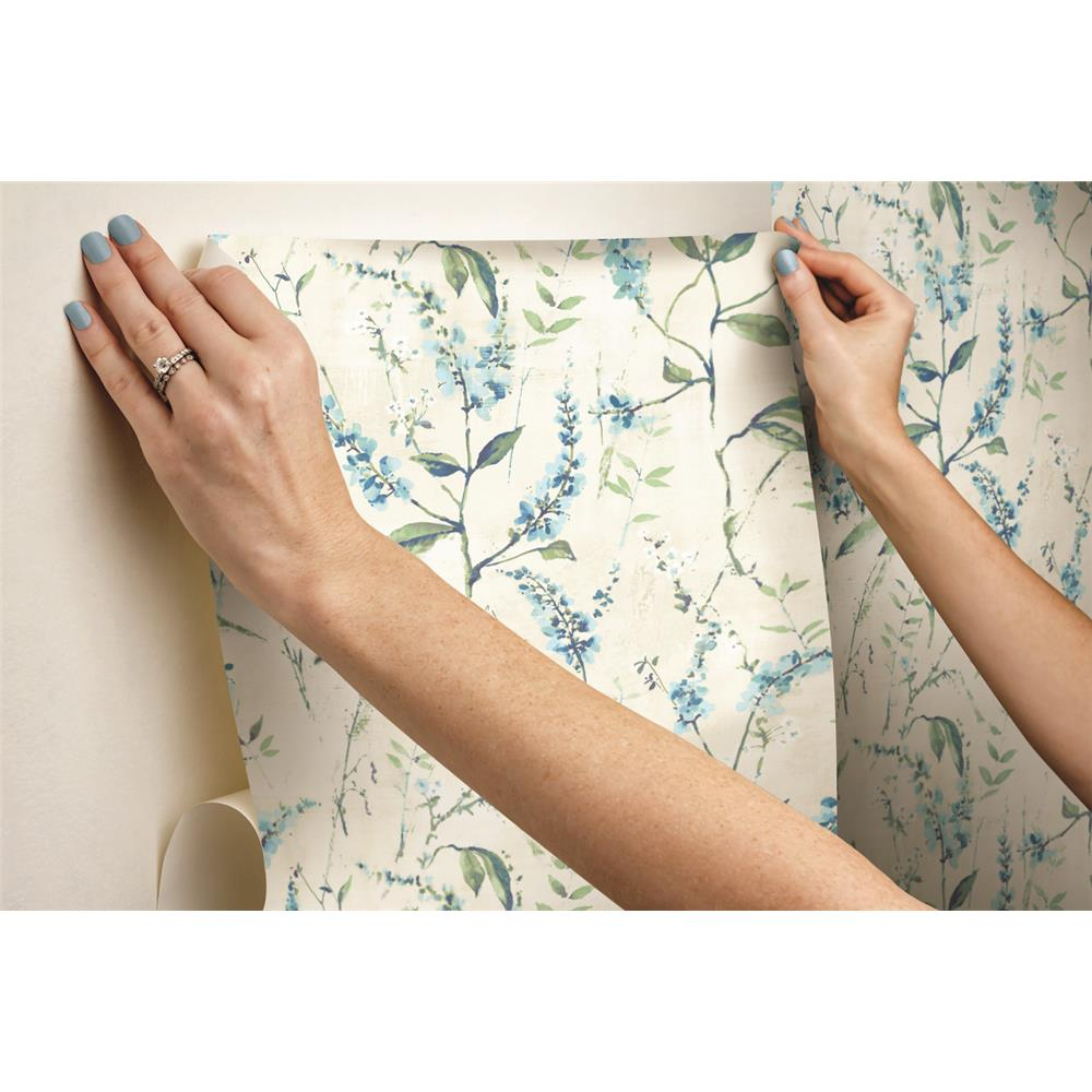 Blue Floral Sprig Peel & Stick Wallpaper by RoomMates for York Wallcoverings