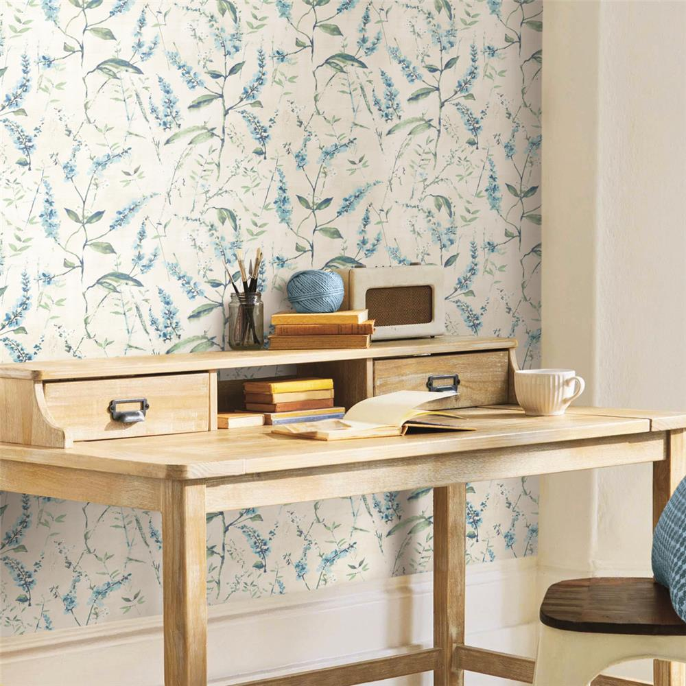 Blue Floral Sprig Peel Stick Wallpaper By Roommates For