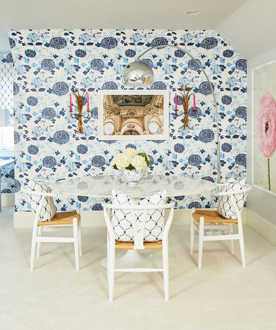 Blue Hydrangea Wallpaper from the Wallpaper Republic Collection by Milton & King