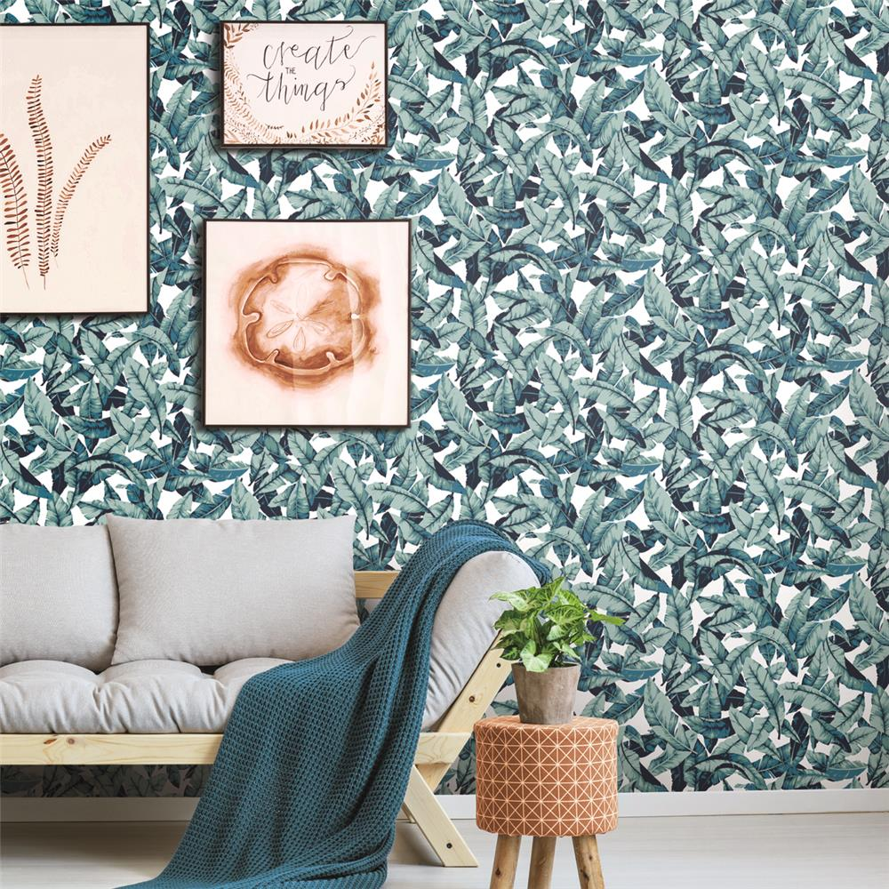Blue Palm Peel & Stick Wallpaper by RoomMates for York Wallcoverings