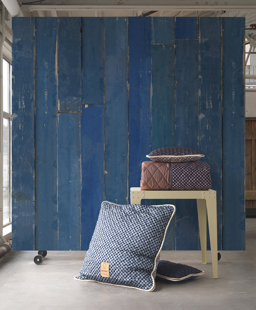 Blue Scrapwood Wallpaper design by Piet Hein Eek for NLXL Wallpaper