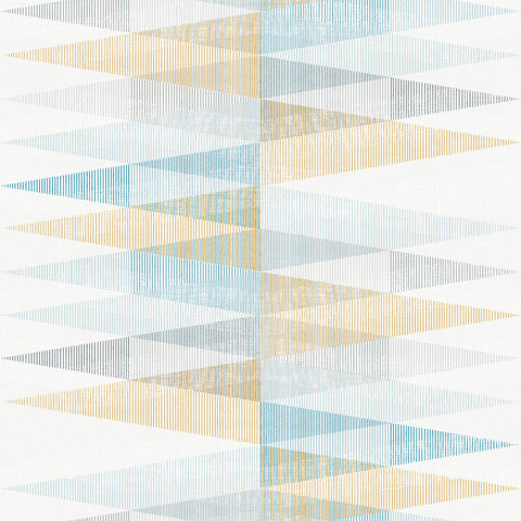 Sample Blue & Yellow Scandinavian Spikes Wallpaper by Walls Republic